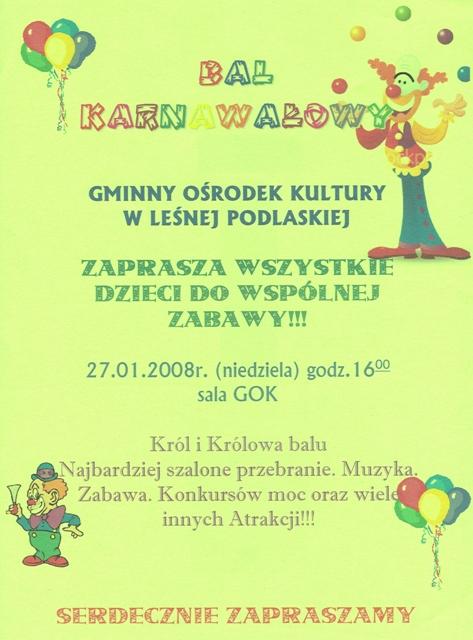 Zaproszenie Na Bal Karnawałowy Aktualności Urząd Gminy Leśna