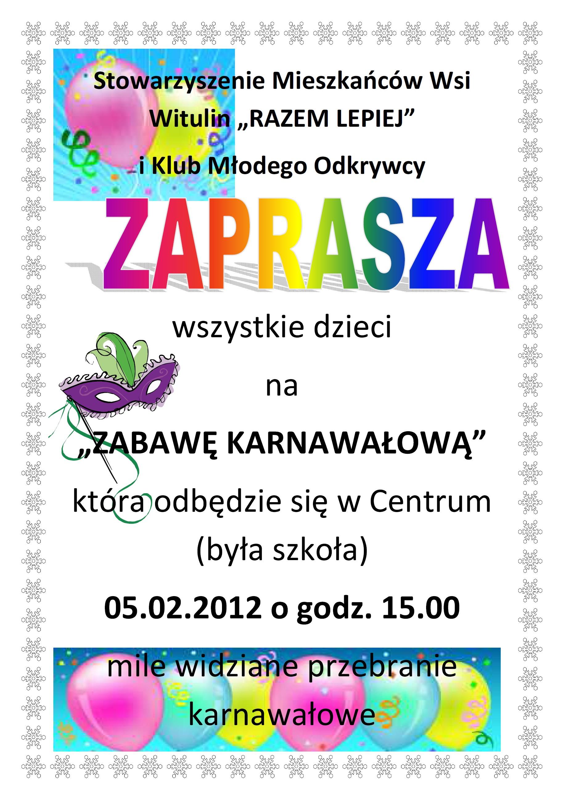 Zaproszenie Na Zabawę Karnawałową W Witulinie Aktualności Urząd